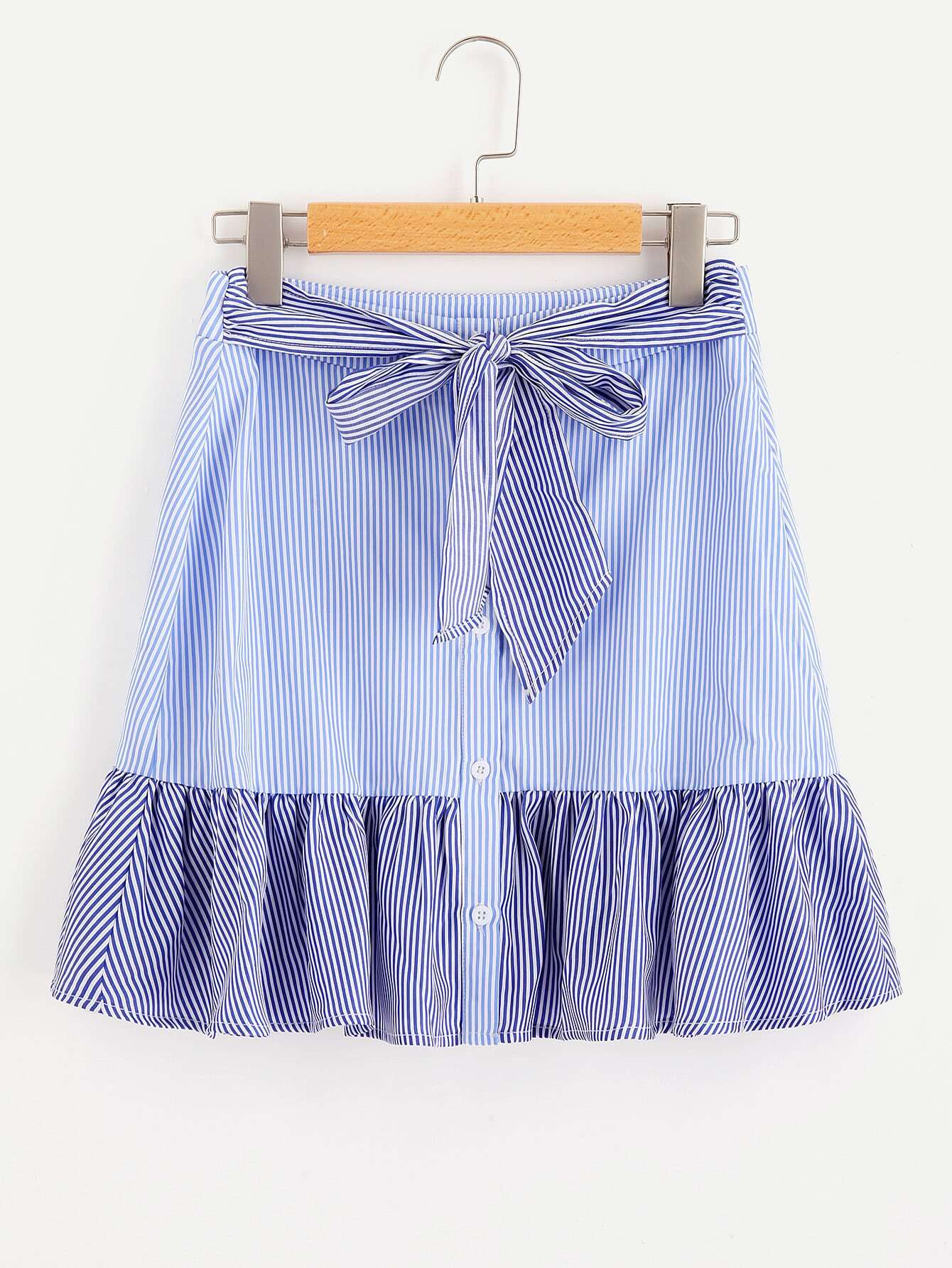 Self Belted Frill Trim Mixed Stripe Skirt