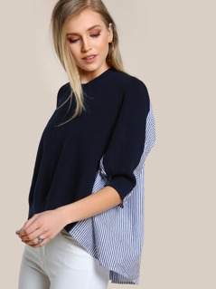 Two Tone Quarter Sleeve Top NAVY