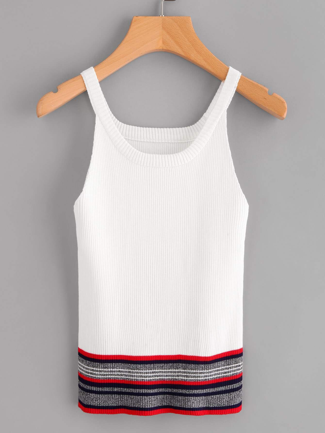 Stripe Hem Ribbed Knit Cami Top