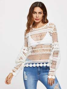 Bishop Sleeve Hollow Out Geo Crochet Top