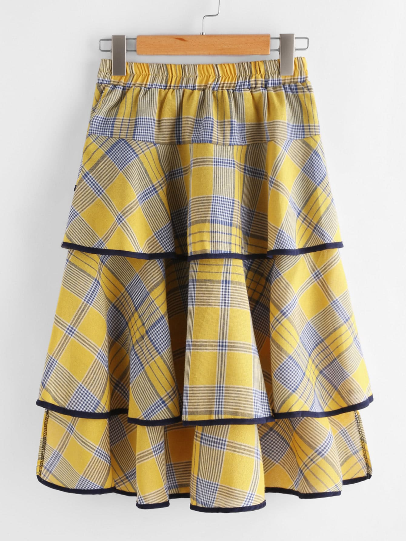 Checked Tiered Ringer Skirt