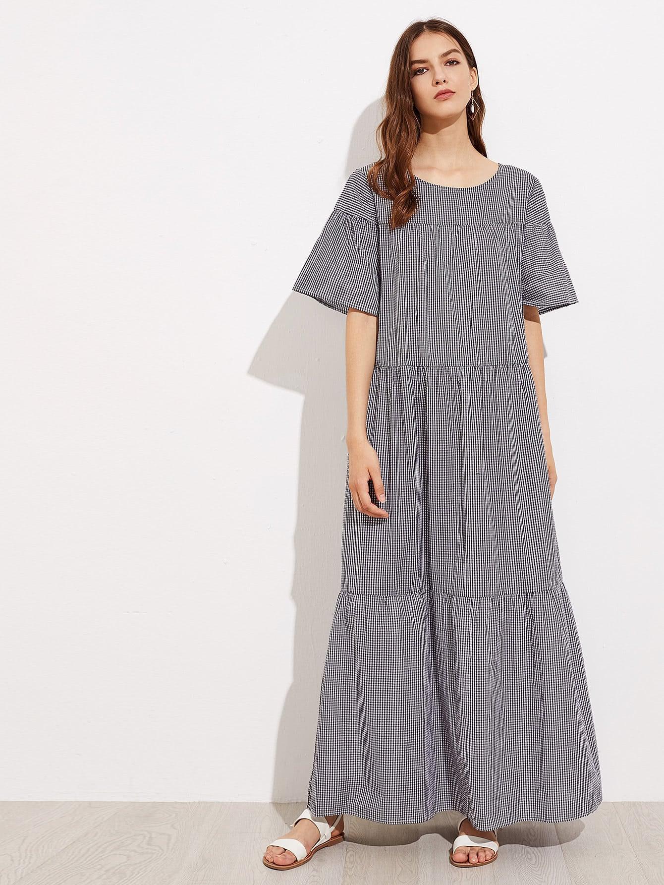 Gingham Full Length Tiered Dress