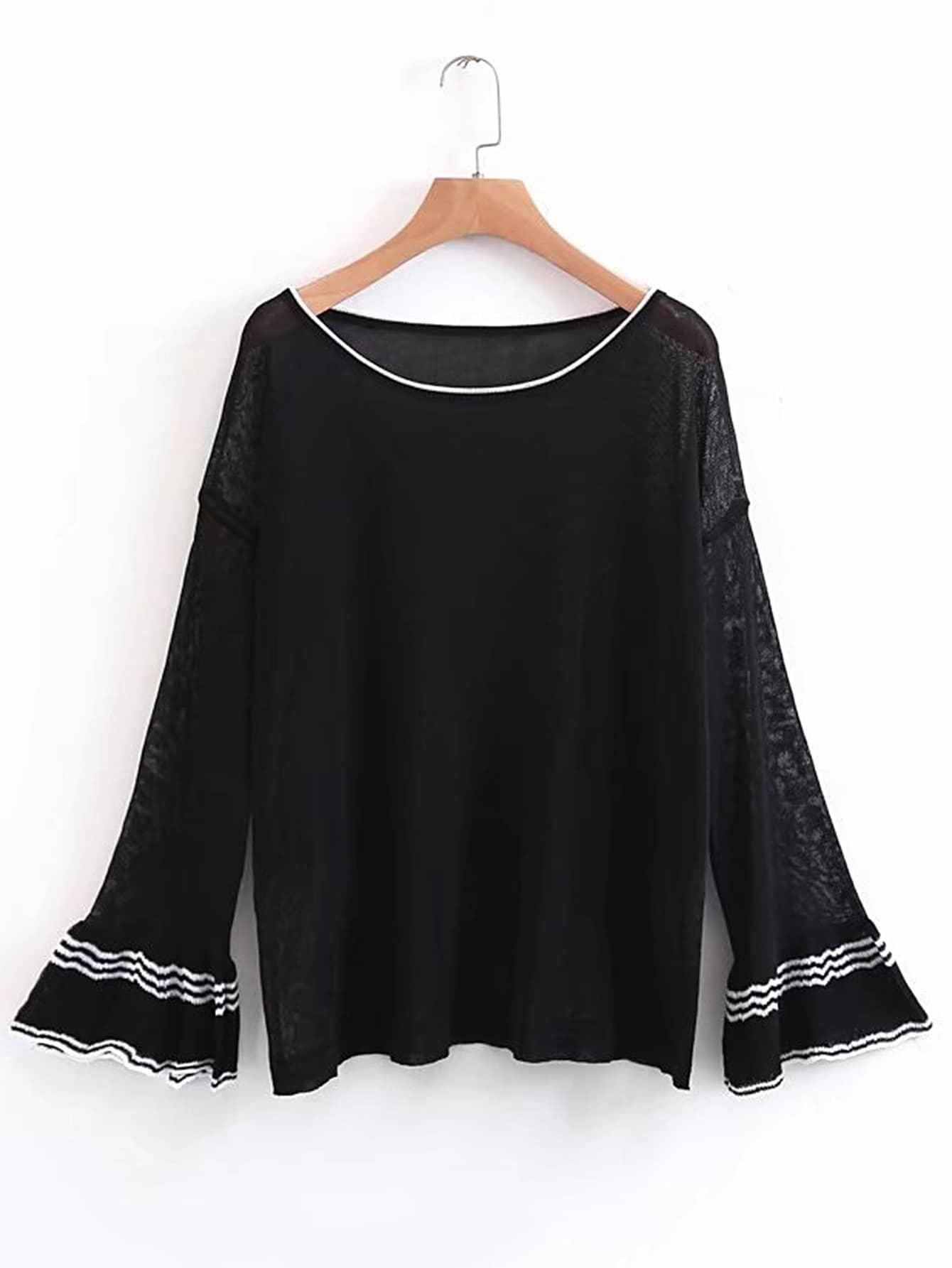 Drop Shoulder Bell Cuff Striped Trim Knitwear sweater170721201