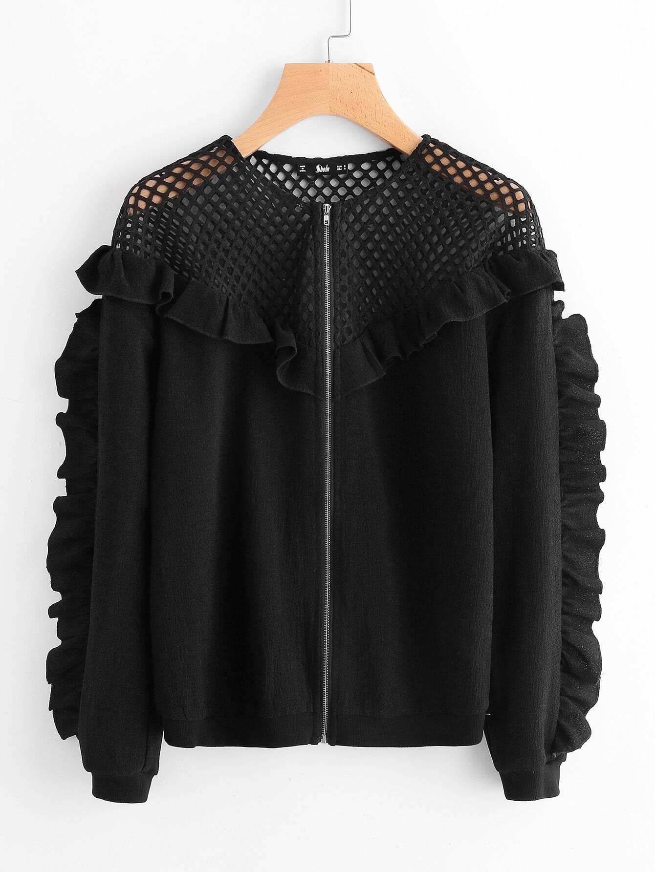 Купить Модная куртка с оборкой и сетчатой вставкой, null, SheIn