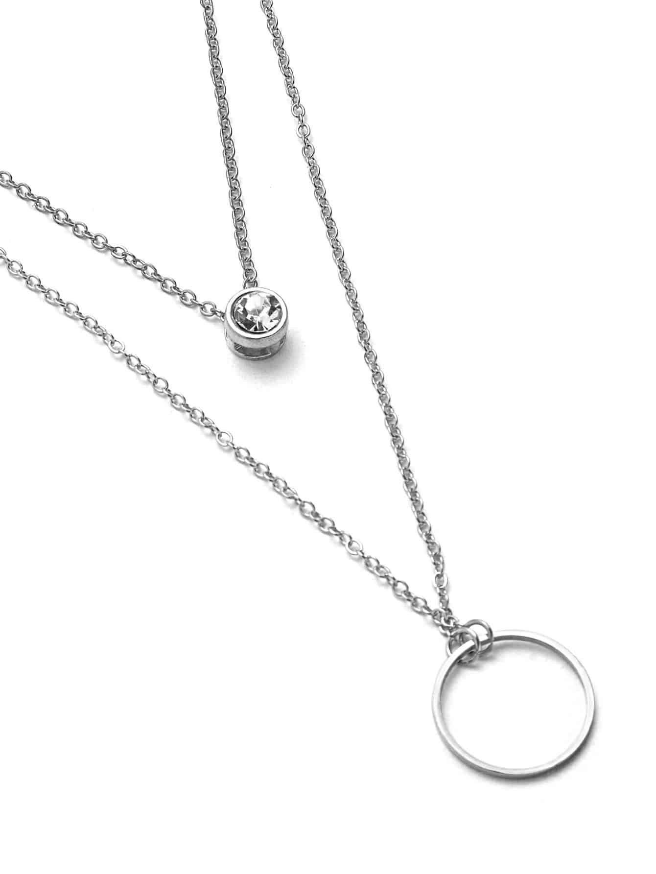 Rhinestone Detail Ring Pendant Layered Necklace rhinestone detail layered rings set 3pcs