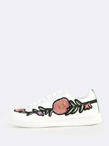Embroidered Lace Up Sneakers WHITE