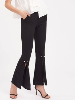 Pearl Pin Embellished Split Front Flared Pants
