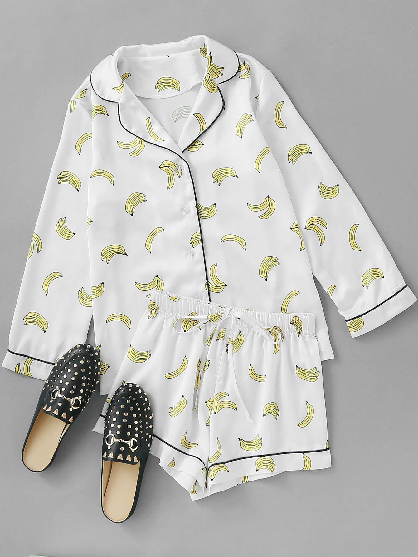 Фото Contrast Piping Banana Print Shirt & Shorts Pajama Set. Купить с доставкой