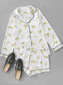 Contrast Piping Banana Print Shirt & Shorts Pajama Set