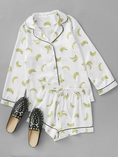 Contrast Piping Banana Print Shirt & Shorts Pajama Set