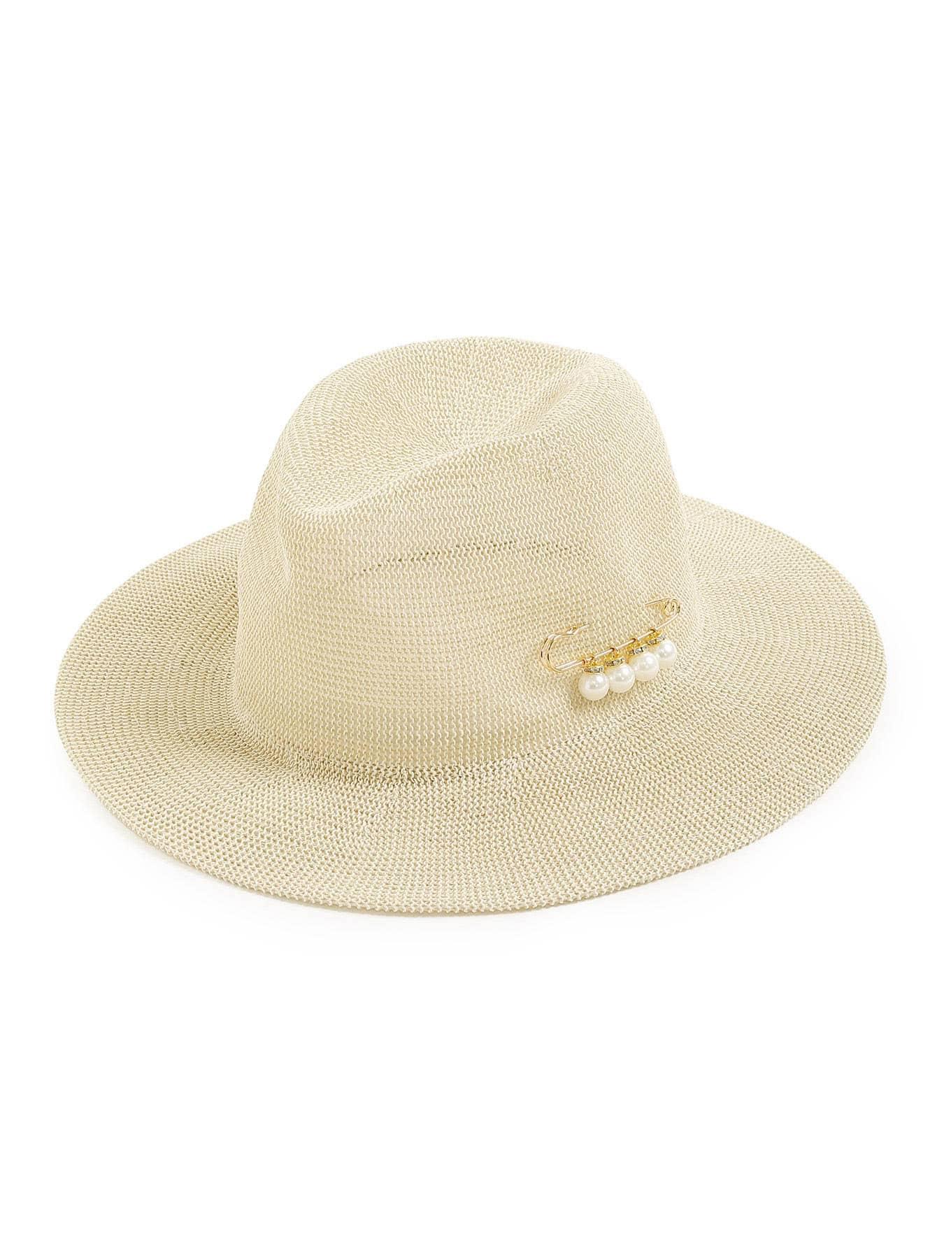 Фото Faux Pearl Pin Fedora Hat. Купить с доставкой