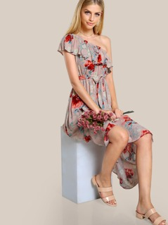 Flounce One Shoulder Self Tie Dress