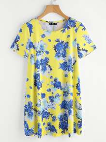 Flower Print Swing Tee Dress