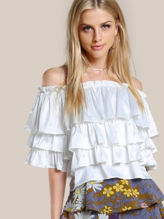 Layered Off Shoulder Solid Shirt IVORY