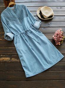 Rolled Cuffed Lace Panel Drawstring Waist Dress