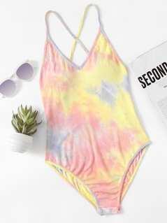 Crisscross Back Pastel Tie Dye Bodysuit