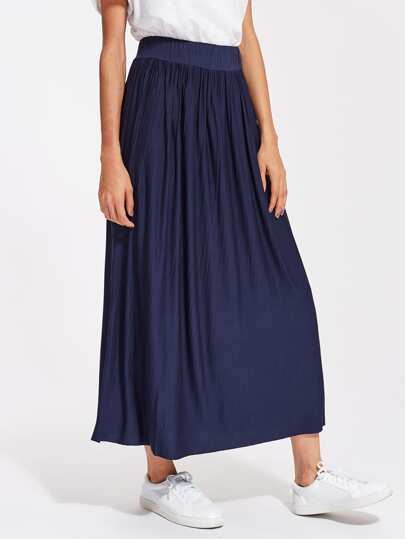 Crinkle Elastic Waist Full Length Skirt
