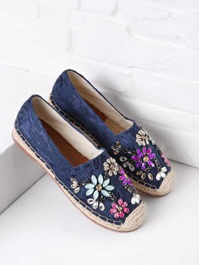 Crystal Decorated Lace Overlay Espadrille Flats