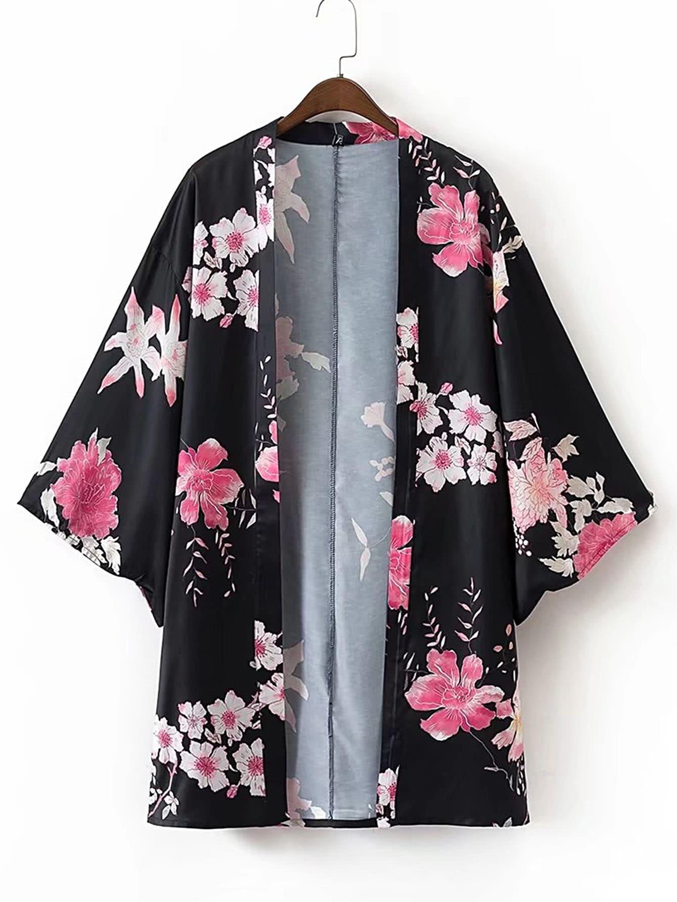 Фото Open Front Floral Print Kimono. Купить с доставкой