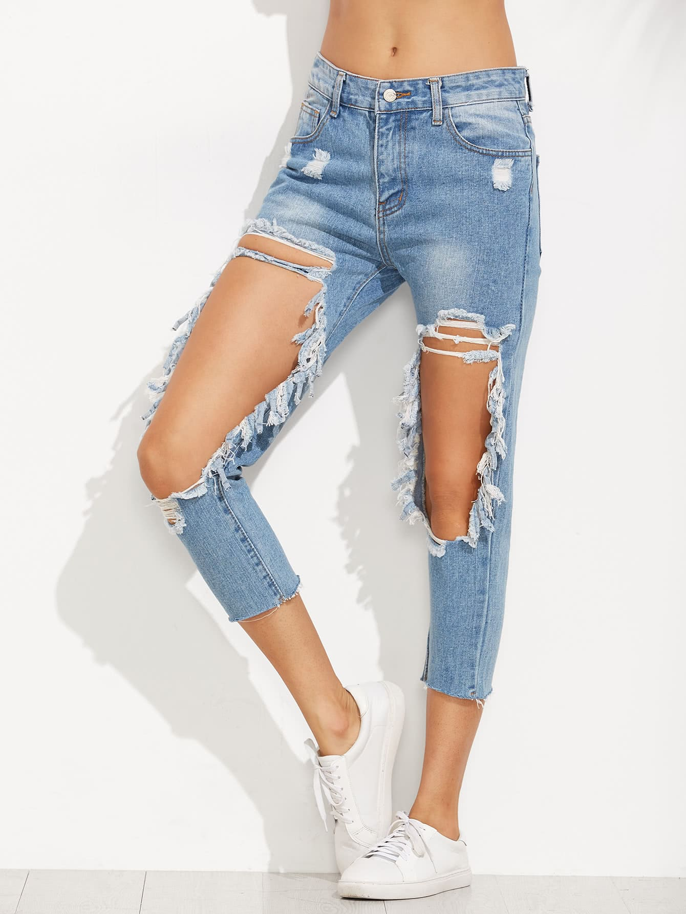 Extreme Distressed Knees Jeans фотоаппарат canon eos 7d mark ii body w e1