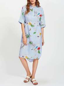 Botanical Print Striped Slit Side Curved Hem Shirt Dress