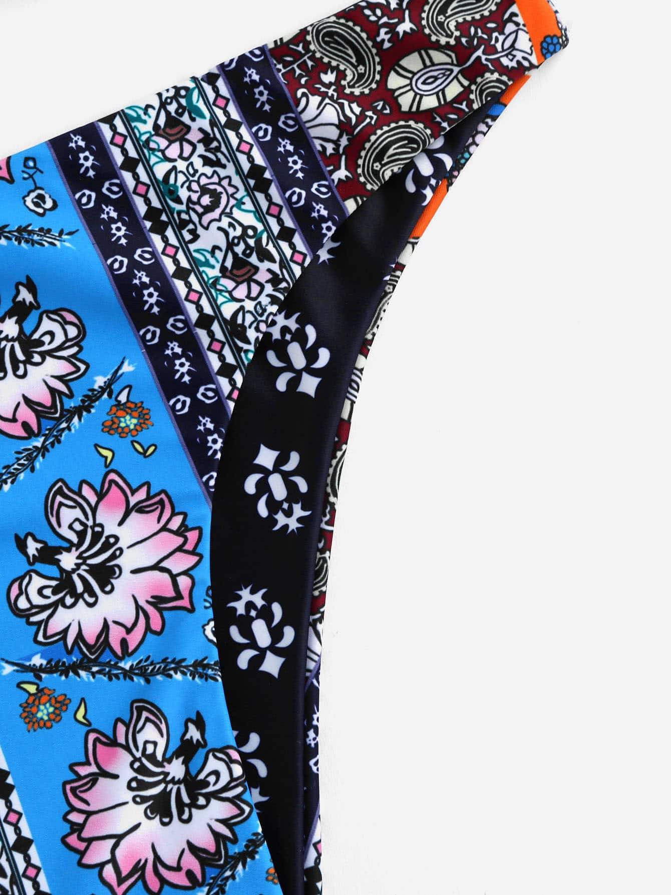 Retro Flower Print Caged Back Bikini Set