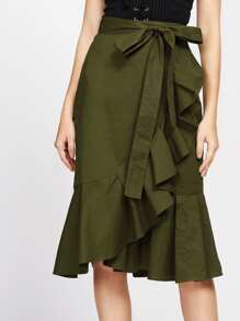 Self Tie Flounce Trim Wrap Skirt