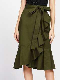 Self Tie Flounce Trim Wrap Skirt