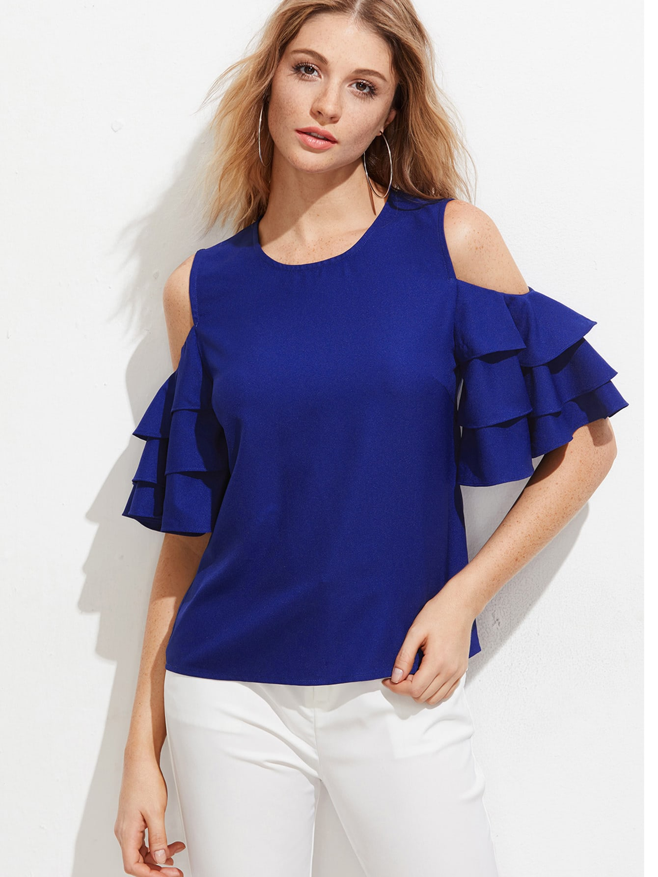 Open Shoulder Layered Bell Sleeve Top oblique shoulder layered frill ditsy top