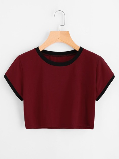 Contrast Trim Crop Tee
