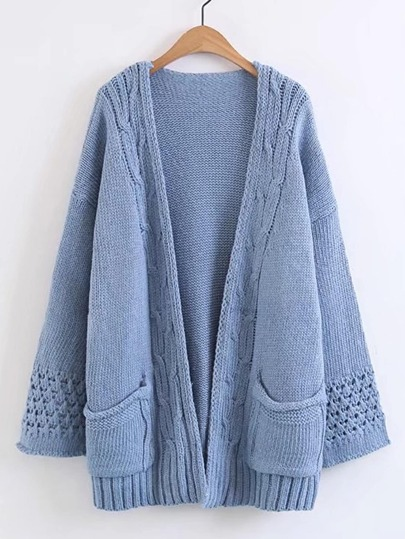 Drop Shoulder Open Front Sweater Coat