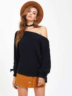 Lace Up Dolman Sleeve Jumper