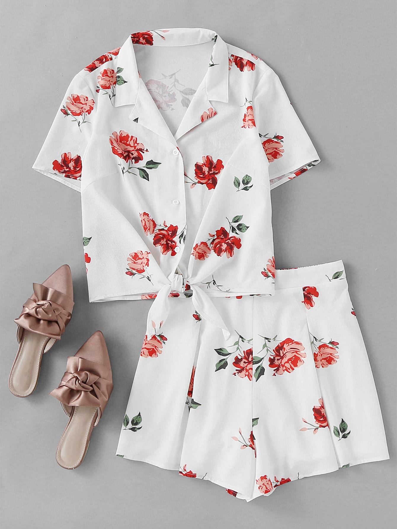 Фото Flower Print Tie Front Blouse With Box Pleated Shorts. Купить с доставкой