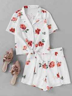 Flower Print Tie Front Blouse With Box Pleated Shorts