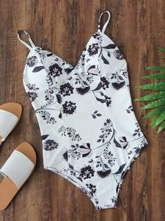 Calico Print V Cut Swimsuit