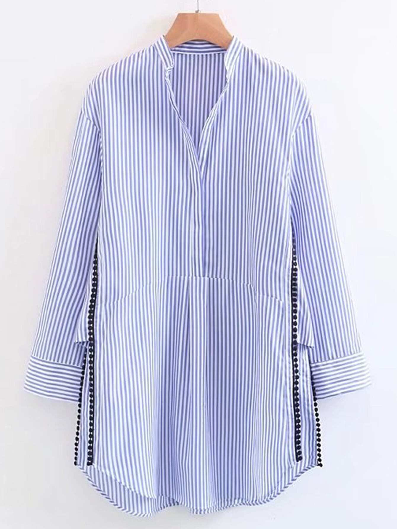 Фото Vertical Striped Dotted Crochet Split Side Shirt Dress. Купить с доставкой