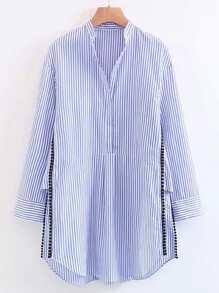 Vertical Striped Dotted Crochet Split Side Shirt Dress