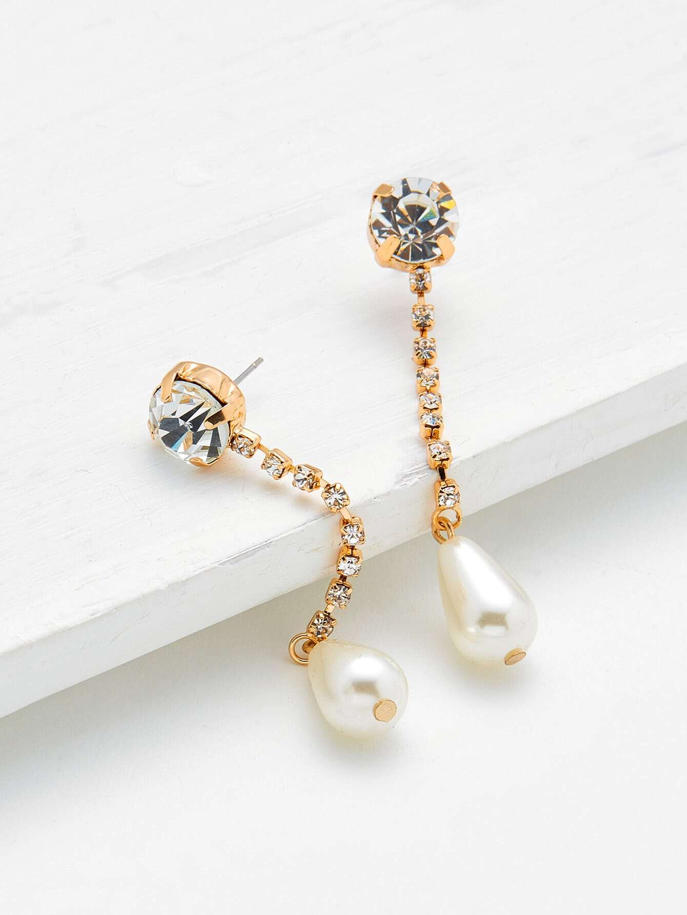 Фото Rhinestone & Faux Pearl Design Drop Earrings. Купить с доставкой