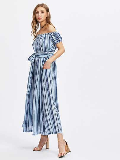 Bardot Vertical Striped Dress With Self Tie