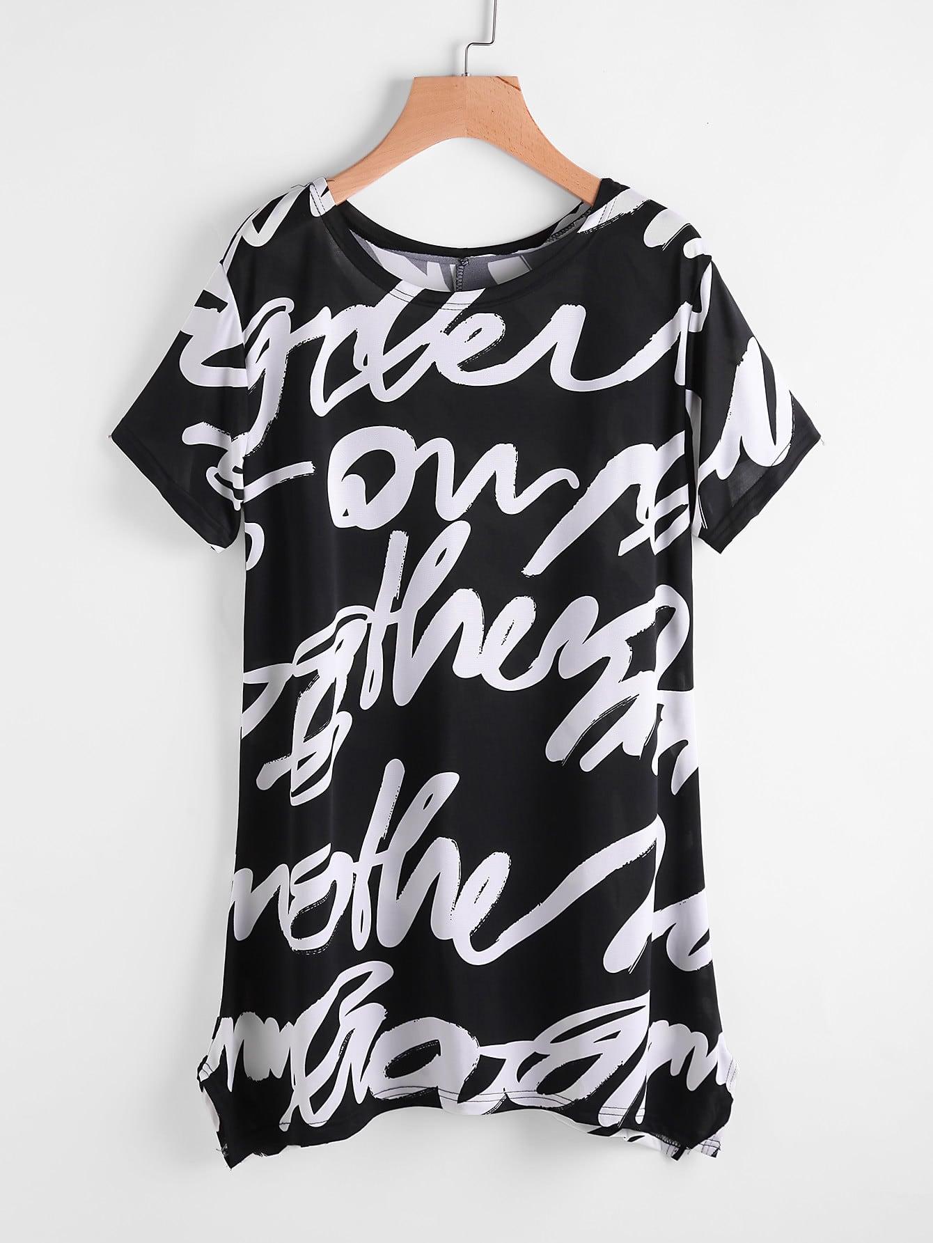 Фото Random Print Pointed Hem Tee Dress. Купить с доставкой