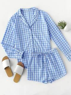 Curved Hem Gingham Shirt And Shorts Pajama Set