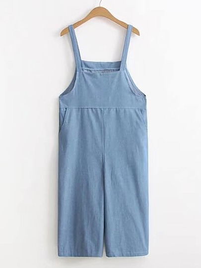 Denim Overall Pants With Pocket