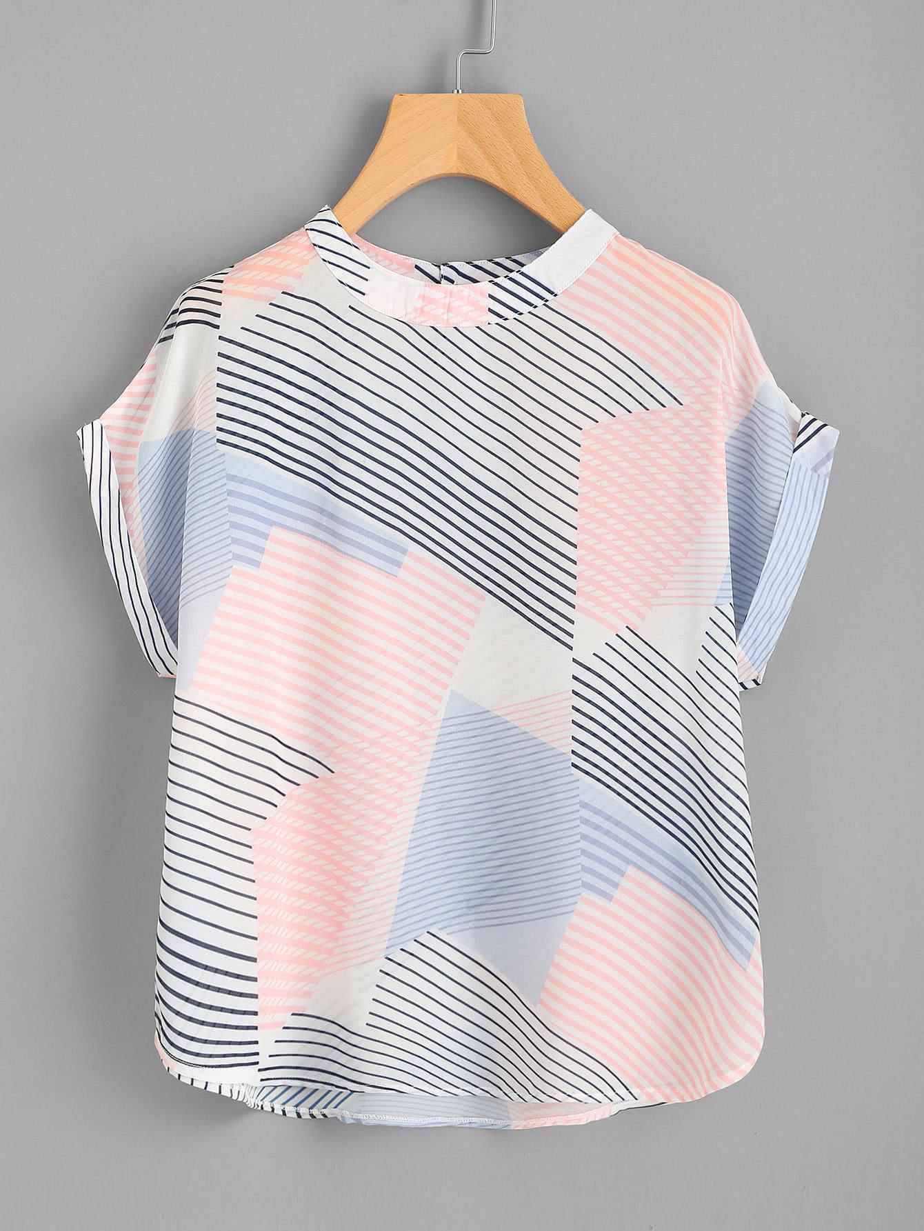 Фото Abstract Striped Curved Hem Cuffed Blouse. Купить с доставкой