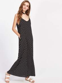 Polka Dot Double V Cami Dress