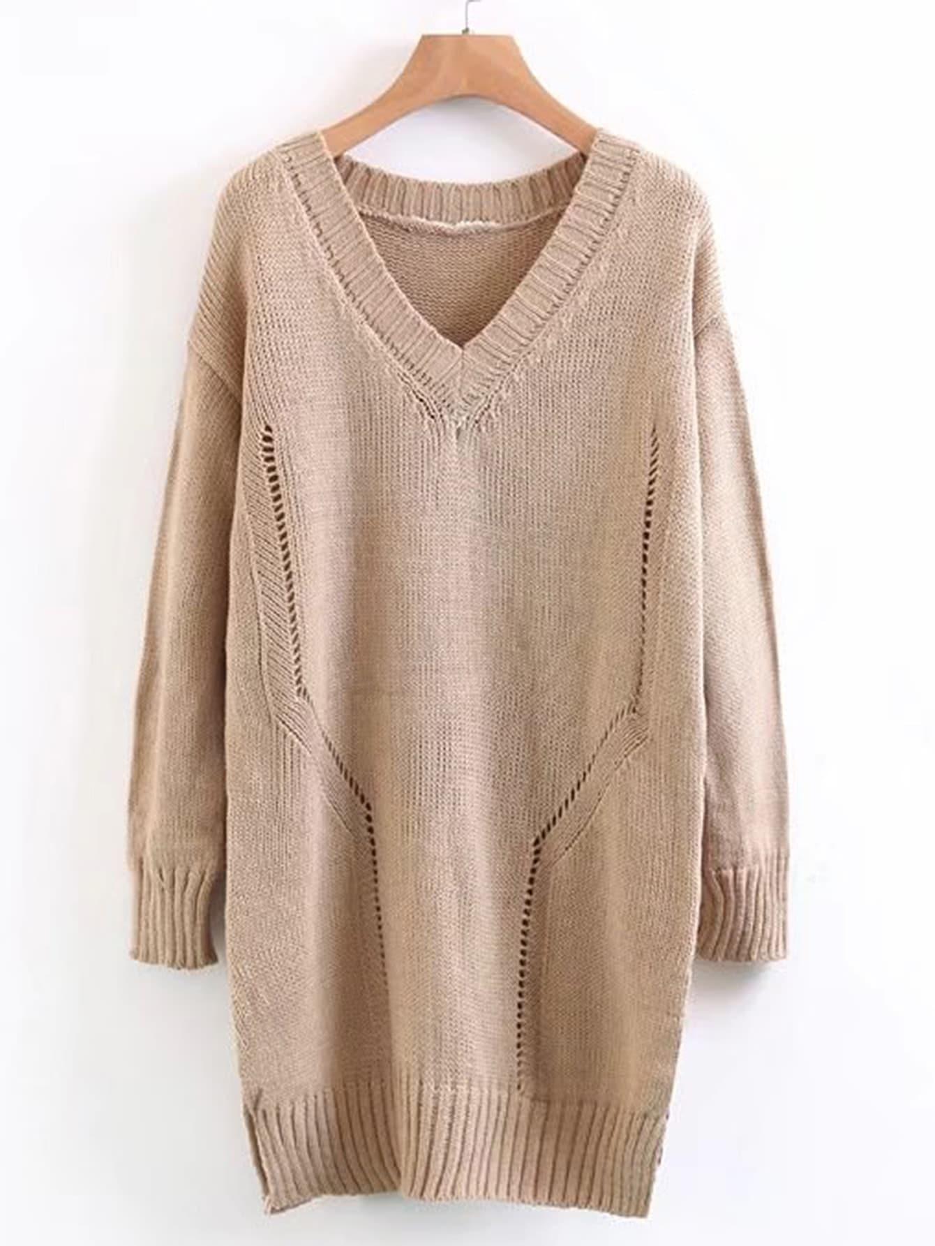 Drop Shoulder Ribbed Trim Longline Sweater