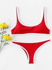 Conjunto de bikini de cuello redondo en contraste