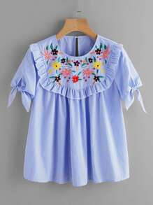Frilled Embroidered Yoke Tie Sleeve Striped Top