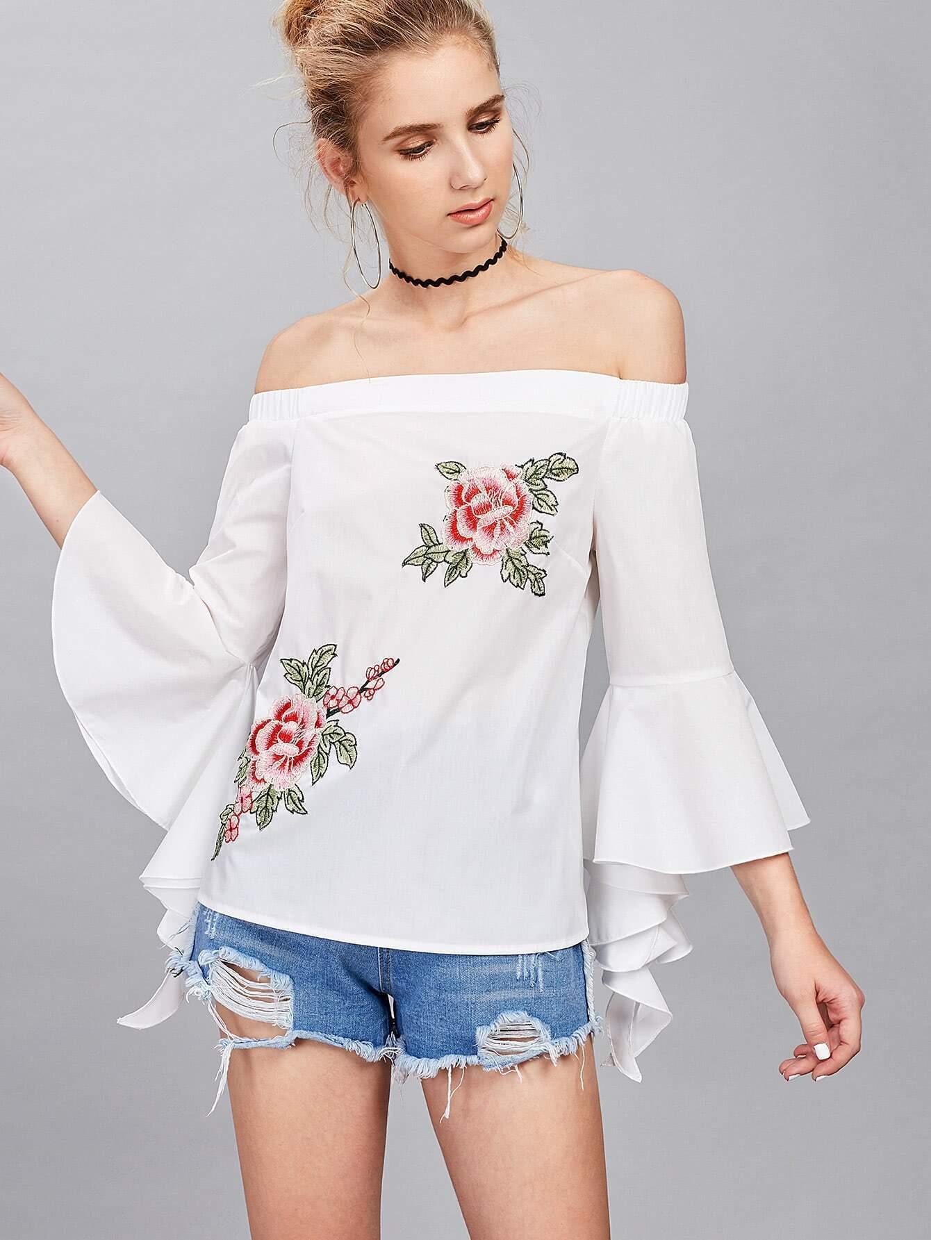 Фото Fluted Sleeve Embroidery Applique Bardot Blouse. Купить с доставкой
