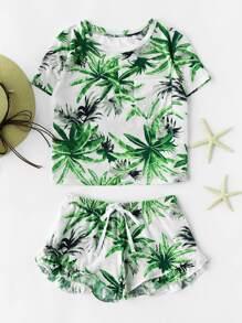 Tropical Print Crop Tee And Ruffle Drawstring Shorts Set