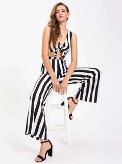 Knotted Front Crop Tank Top With Palazzo Pants